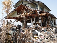 A house damaged by Earthquake & Tsunami in Northern Japan